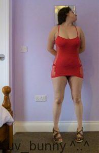 Red opaque mini dress front panel, with fishnet side panels showing