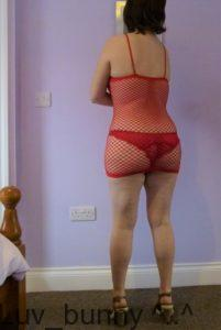 Red opaque mini dress rear fishnet panel.