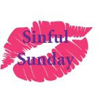 Pink lipstick lip print with Sinful Sunday in purple type. Meme logo