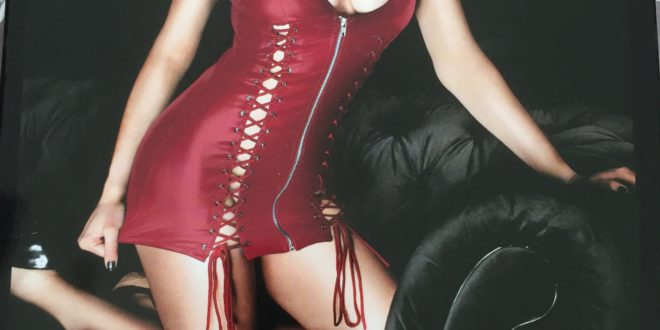 Ann Summers Addiction Wet-look red dress with front zip