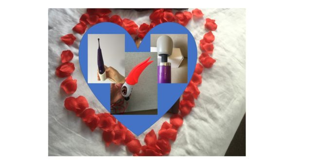 Rose petal heart with photos of the Zumio clitoral stimulator, Fun Factory Volta and Doxy mains-powered wand.