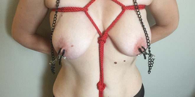 Rope bondage & chain nipple clamps