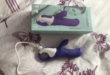 Satisfyer Vibes Magic Bunny Purple and White Silicone rabbit vibrator with outer packaging
