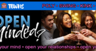 SwingTowns banner promoting a dating site for swinger couples and non-monogamous / polyamorous individuals