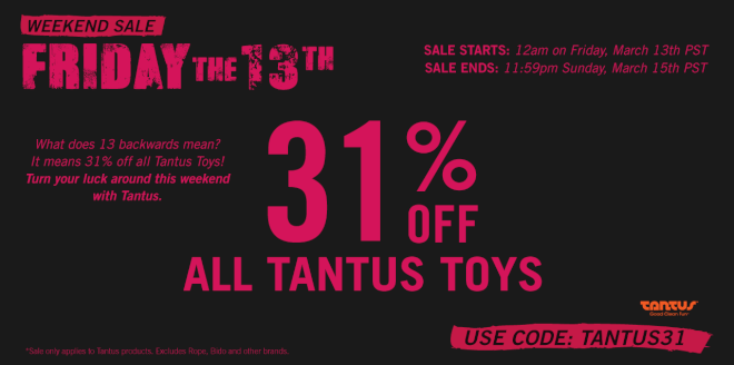 Tantus Friday 13th 31% off toys