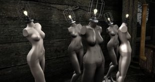 Nude female mannequins with light bulb heads to show initiative