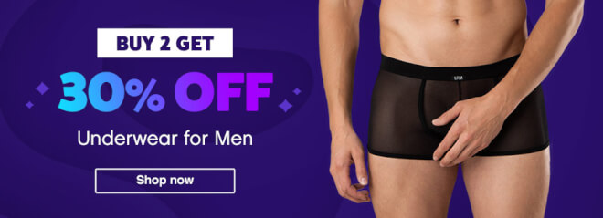 Buy 2 Get 30% off underwear for men banner
