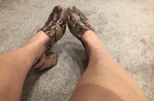 Luv Bunny wearing nude mock-croc shoes